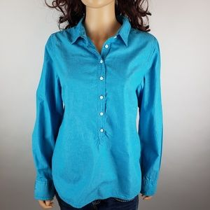 J. Crew Bright Blue Button Down Shirt Top Sz L